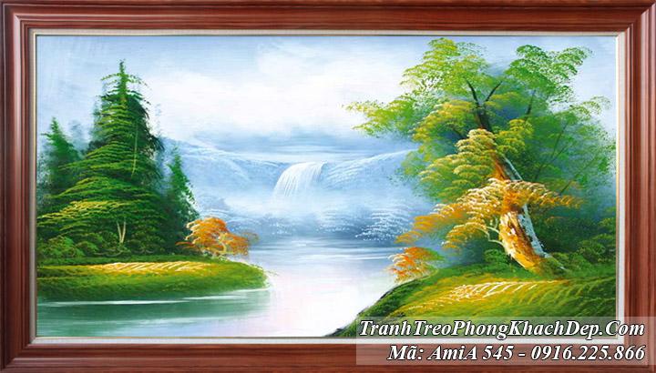 Tranh hồ nước xanh yên bình giữa rừng cây Amia 545