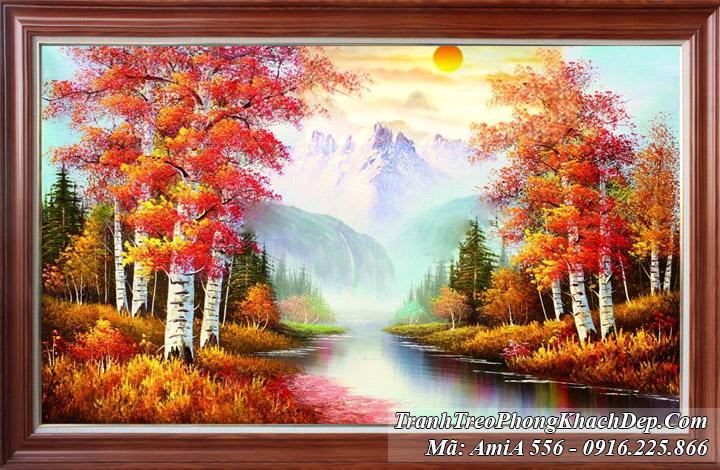 Tranh rừng cây sông nước mùa Thu Amia 556