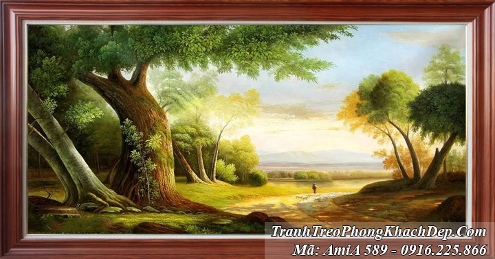 Tranh rừng cây AmiA 589 một tấm giả sơn dầu