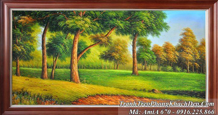 Tranh rừng cây khổ lớn AmiA 670 giả sơn dầu