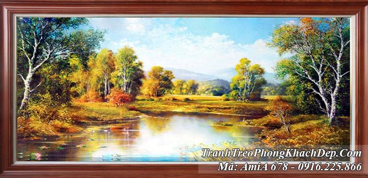 Tranh thiên nhiên rừng cây sông nước Amia 678