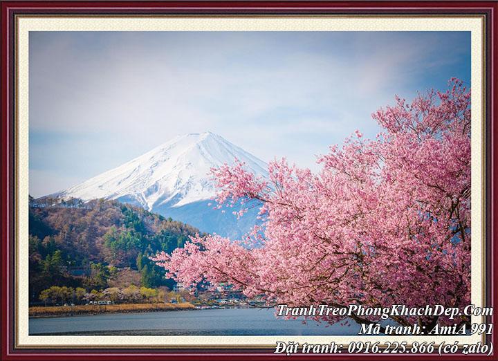 Tranh phong cảnh đẹp Nhật Bản Amia 991 dạng 1 tấm có khung