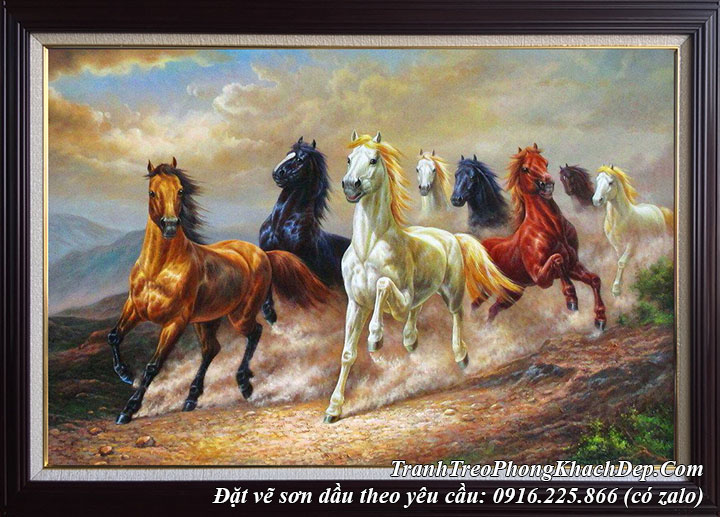 Vẽ tranh sơn dầu phong thủy mã đáo thành công chạy trên dốc núi