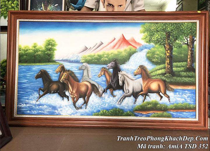 Tranh vẽ ngựa 8 con chạy giữa sông nước núi rừng amiA TSD 352