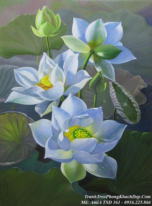 Tranh hoa Sen trắng khổ đứng vẽ sơn dầu TSD 361