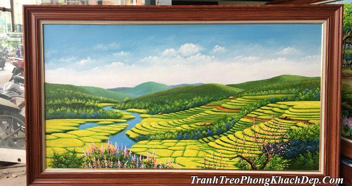 Mẫu tranh vẽ ruộng bậc thang Hoàng Su Phì bằng sơn dầu AmiA TSD 396