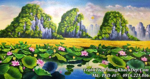 Tranh vẽ phong cảnh sơn dầu hồ Sen và đồng lúa chín núi non