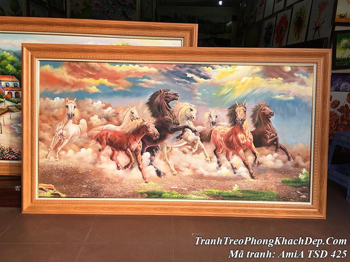 Tranh vẽ ngựa phi nước đại trên sa mạc cát AmiA TSD 425
