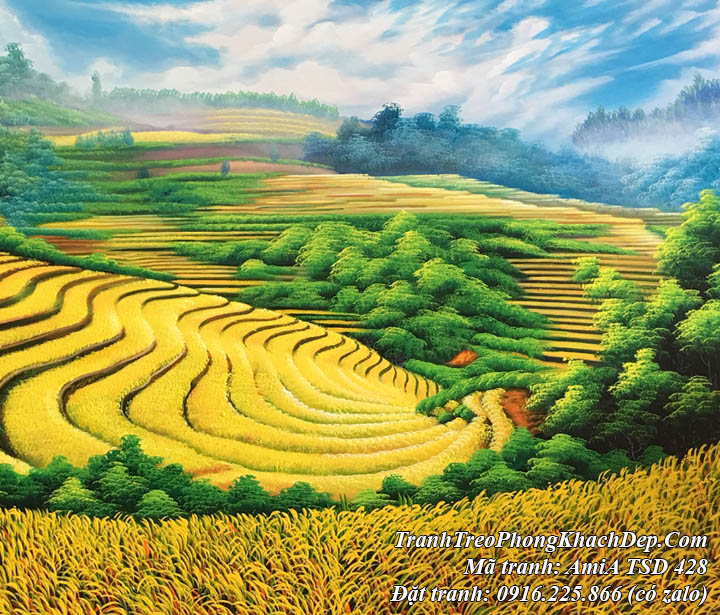 Tranh vẽ sơn dầu TSD 428 ruộng bậc thang dát vàng lấp lánh