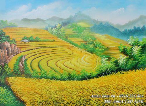 Tranh đồng quê lúa chín bậc thang vẽ sơn dầu khổ nhỏ