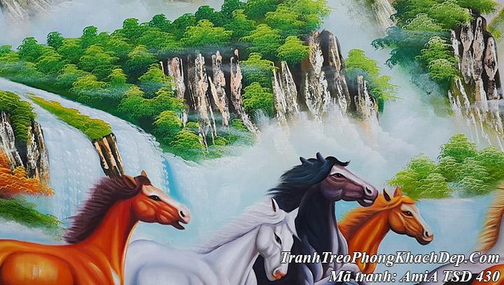 Tranh vẽ sơn dầu 8 con ngựa TSD 430