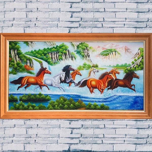 AmiA TSD 430 tranh đàn ngựa chạy trong rừng suối