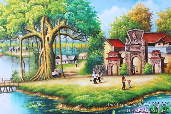 Tranh sơn dầu vẽ cảnh cổng đình làng AmiA TSD 431