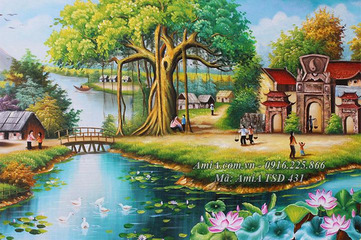 Tranh hồ Sen và đàn vịt bơi ở sông quê đầu làng AmiA TSD 431