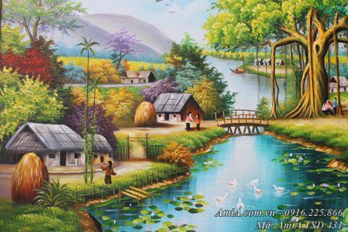 Tranh vẽ sơn dầu thôn quê làng xóm AmiA TSD 431