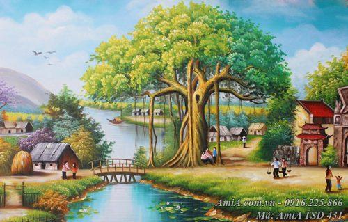 Tranh vẽ cây đa cổ thụ đầu làng AmiA TSD 431