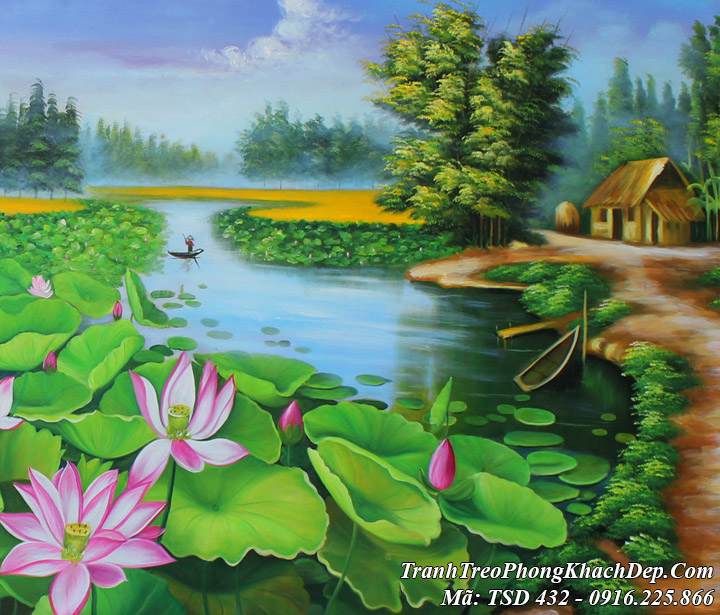Tranh vẽ sơn dầu làng quê ao sen TSD 432