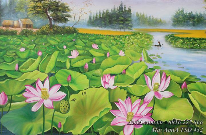 Trong tranh vẽ sơn dầu ao Sen ở làng quê có hình ảnh ngôi nhà đồng lúa chín