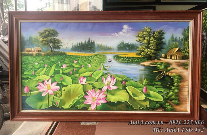 Tranh vẽ phong cảnh hồ Sen làng quê chụp thực tế tại cửa hàng tranh aMia