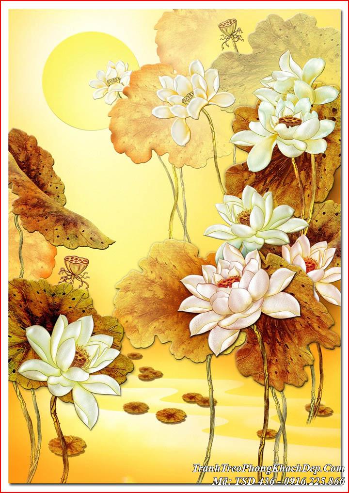 AmiA vẽ tranh sơn dầu hoa sen theo yêu cầu mã TSD 436