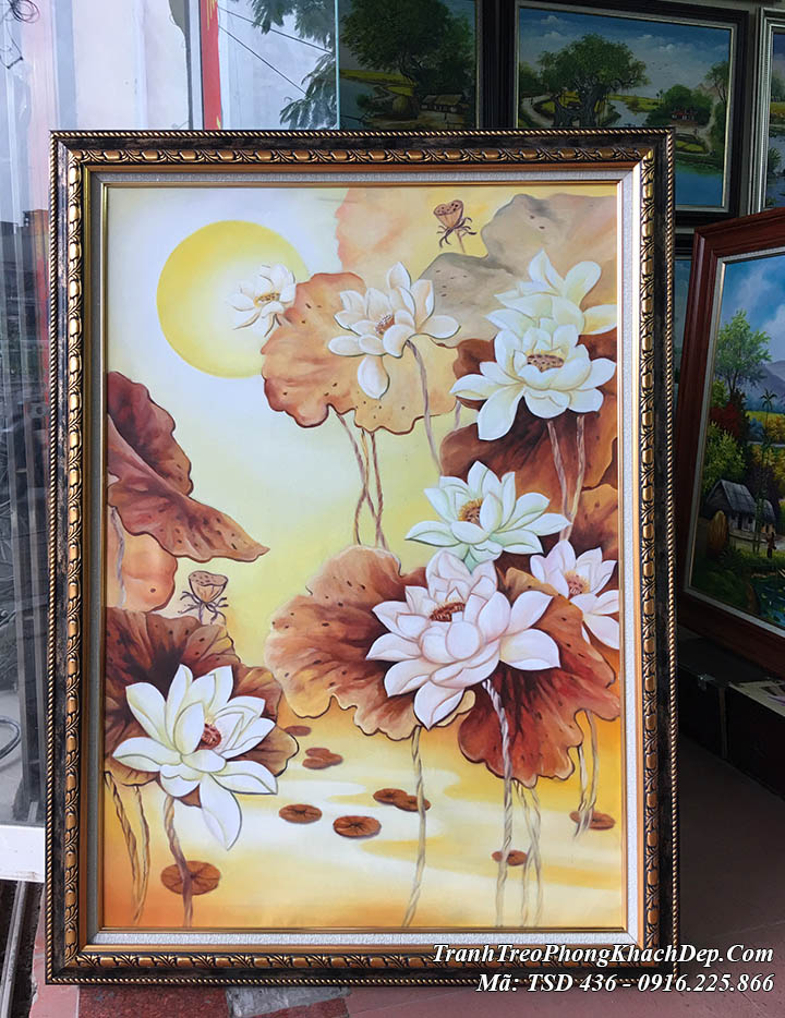 Bức tranh vẽ sơn dầu hoa sen TSD 436 theo yêu cầu tại AmiA