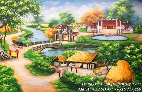 Tranh vẽ giếng nước đầu làng cây đa cổ htụ AmiA TSD 435
