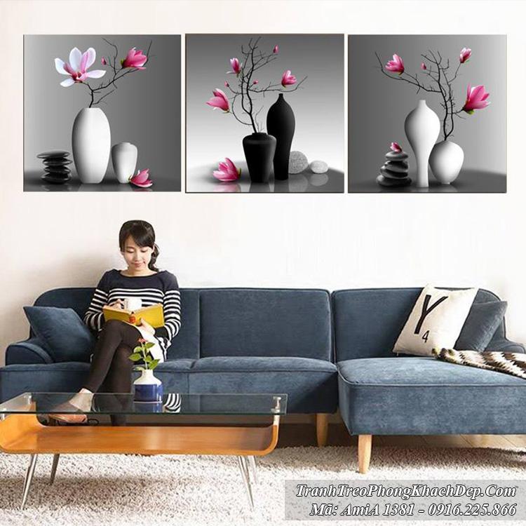 Tranh bình hoa Amia 1381 mẫu thiết kế
