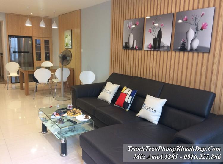 Tranh treo phòng khách chung cư bình hoa hiện đại Amia 1381