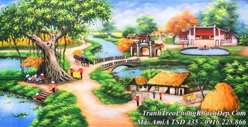 Tranh vẽ sơn dầu toàn cảnh làng quê nông thôn TSD 435