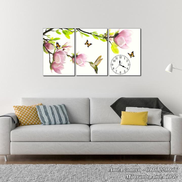 Hình ảnh đồng hồ tranh hoa mộc lan treo tường phòng khách AmiA 1542