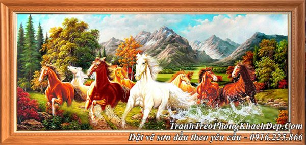 Hình ảnh tranh sơn dầu 8 chú ngựa giữa núi đồi