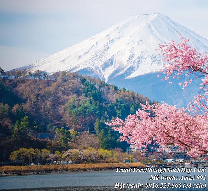 Phong cảnh hồ đẹp nhìn lên núi phú sỹ trong tranh AmiA 991