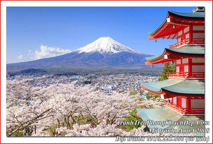 Tranh núi phú sỹ Nhật bản một tấm làm theo yêu cầu