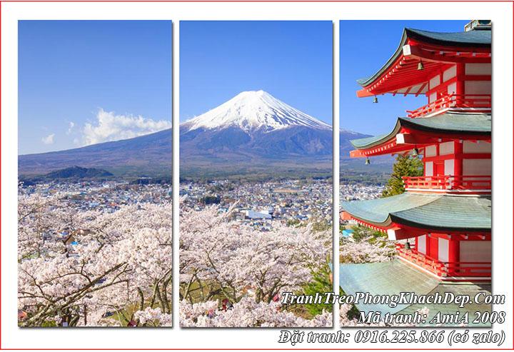 Tranh phong cảnh nhật bản núi Fuji AmiA 2008 bộ 3 tấm