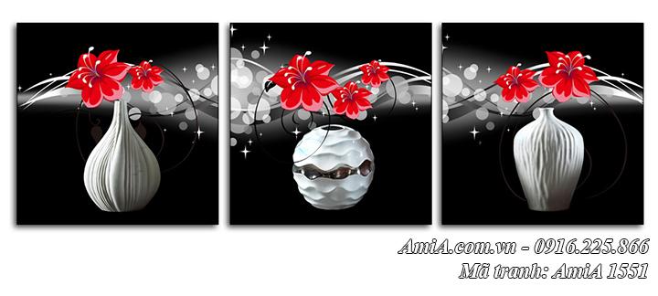 AmiA 1551 tranh bình hoa 3 tấm hiện đại màu đen trắng