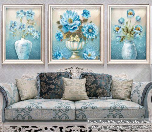 Tranh 3 tấm bình hoa hiện đại amia 1394