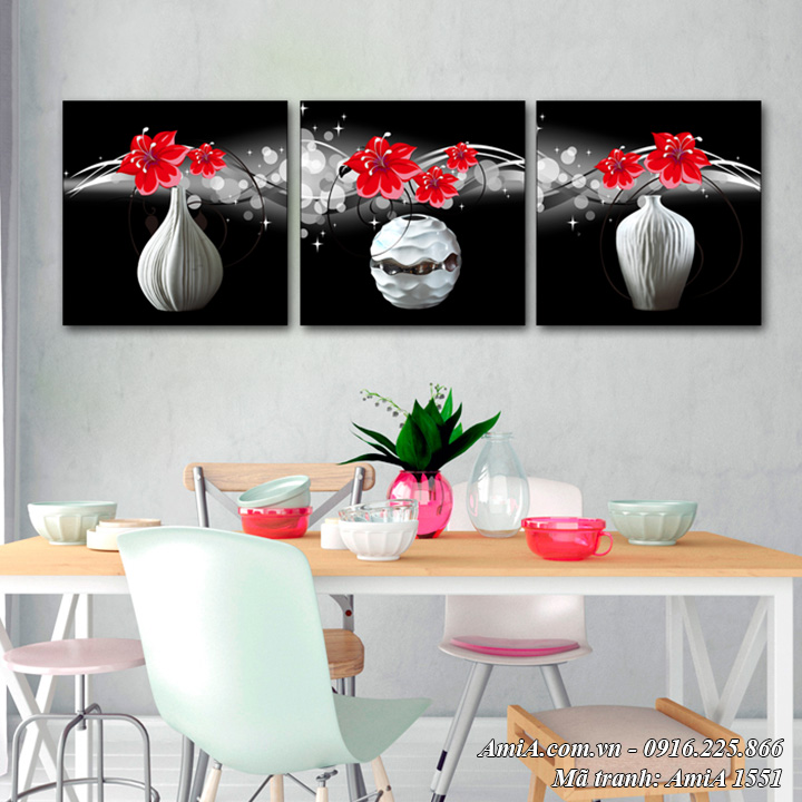AmiA 1551 tranh bình hoa hiện đại hợp treo phòng khách phòng ăn