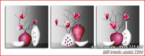 AmiA 1554 tranh bình hoa mộc lan 3 tấm bình sứ trắng hồng