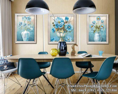 Tranh treo phòng ăn AmiA 1394 bình hoa màu xanh quý tộc