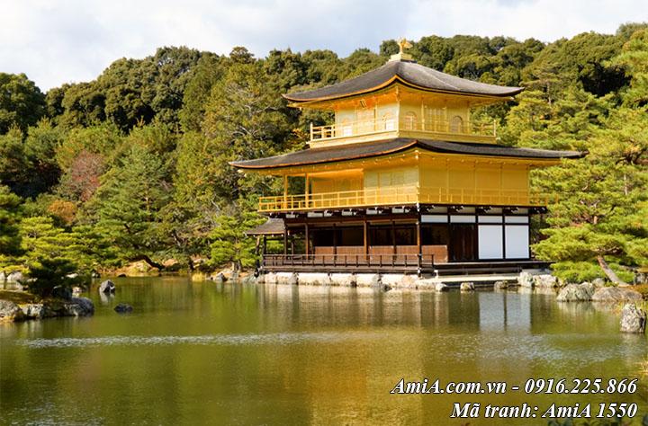 Tranh phong cảnh chùa vàng nhật bản làm theo yêu cầu
