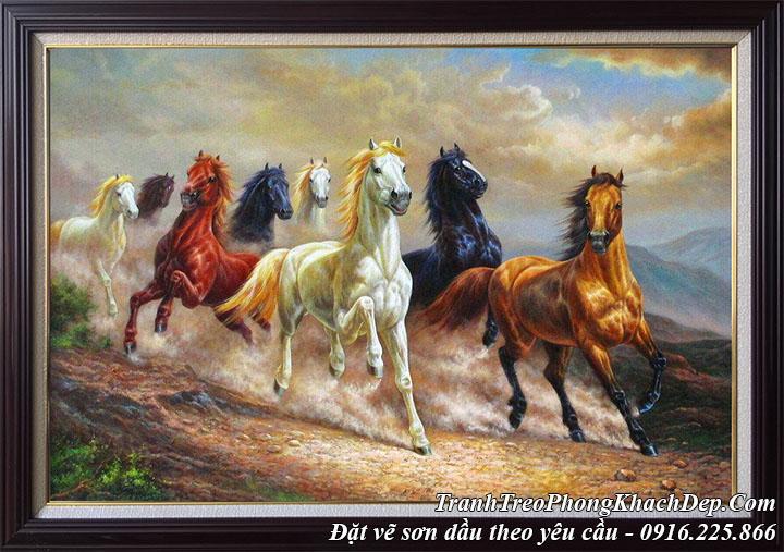 Hình ảnh tranh 8 con chạy trên hoang mạc vẽ ngựa sơn dầu