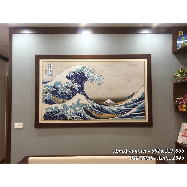 AmiA 1546 tranh Nhật Bản cổ con sóng và núi Phú Sỹ