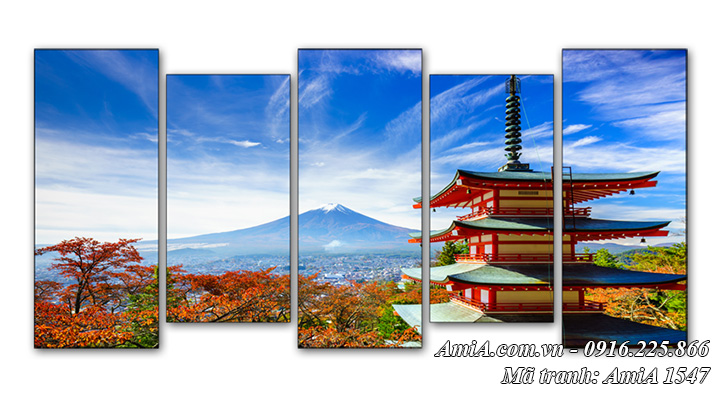 Tranh Núi Phú sỹ và chùa Chureito Nhật Bản