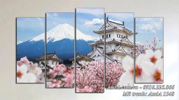AmiA 1548 tranh núi Fuji Phú Sỹ và lâu đài HimeJi Nhật Bản