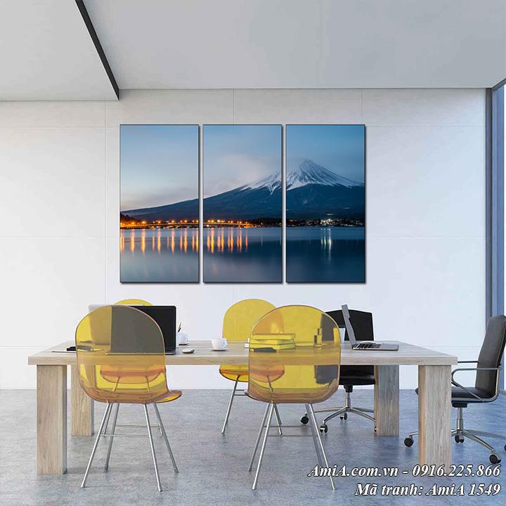 AmiA 1549 tranh phong cảnh đẹp núi Phú Sỹ dạng 3 tấm tranh treo tường
