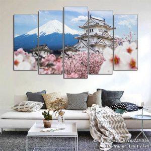 Tranh phong cảnh nhật bản treo phòng khách AmiA 1548 núi phú sỹ lâu đài Himeji