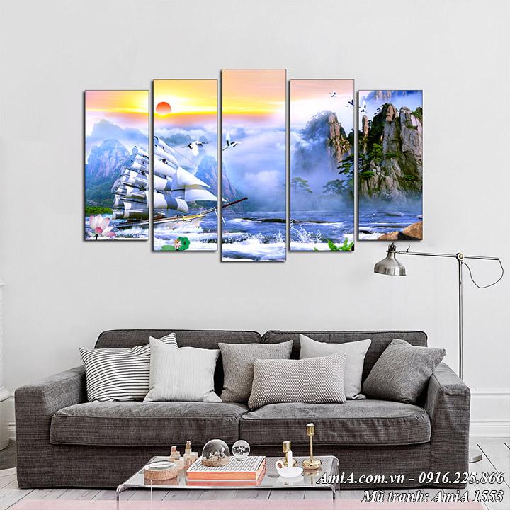 Amia 1553 tranh thuyền buồm và phong cảnh sông núi AmiA 1553