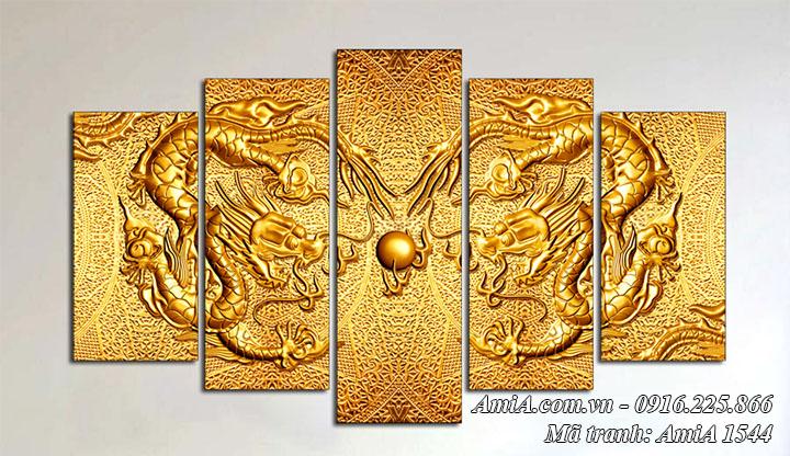 Hình ảnh tranh AmiA 1544 tranh rồng vàng ghép bộ 5 tấm treo tường
