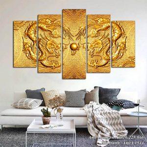 AmiA 1544 tranh phong thủy rồng vàng treo phòng khách đẹp