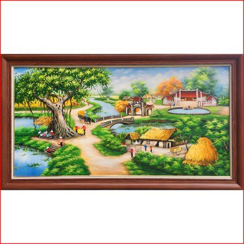 Tranh vẽ phong cảnh giếng nước sân đình ở nông thôn bằng sơn dầu mã TSD 435